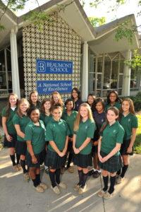 Girls in front of school