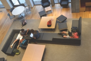 At Stirn Hall at Hawken School, there are many common areas for students to collaborate with peers and faculty.